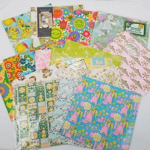 Vintage Mod Wrapping Paper Lot Wedding Baby Shower